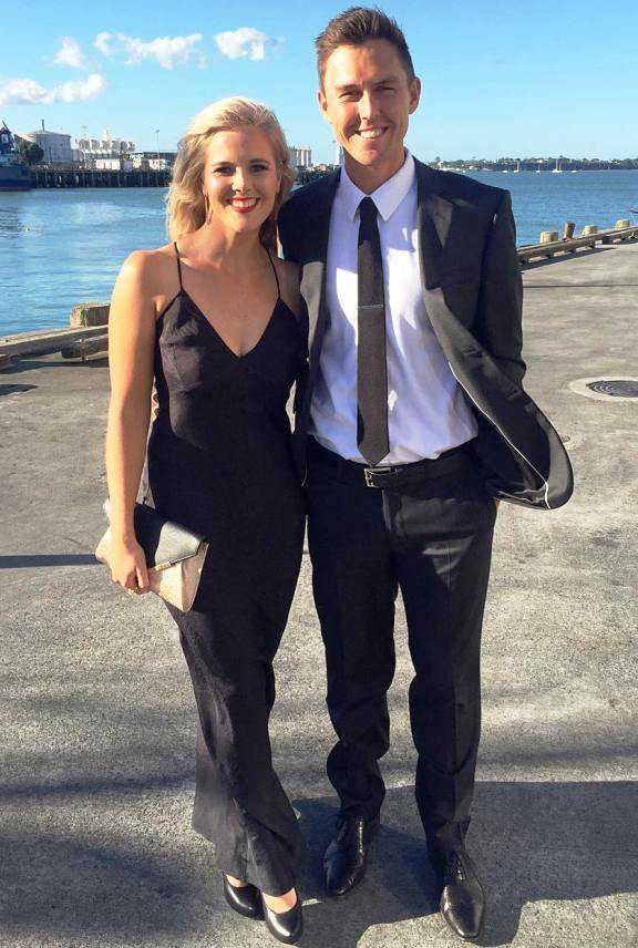 Trent Boult with His Wife