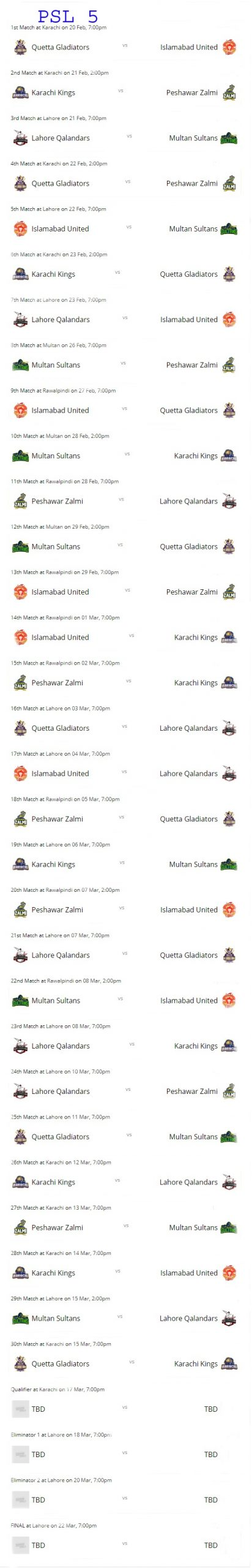 PSL 5 2020 Team, Matches Schedule, Venue & Time Table