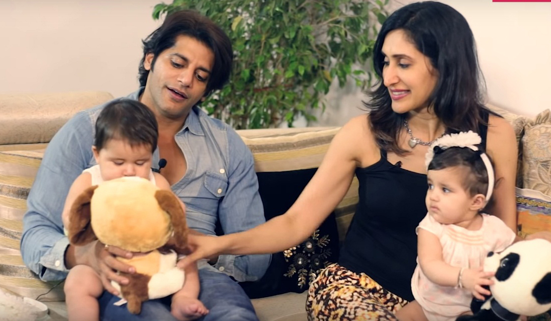Karanvir Bohra With Wife and Daughters