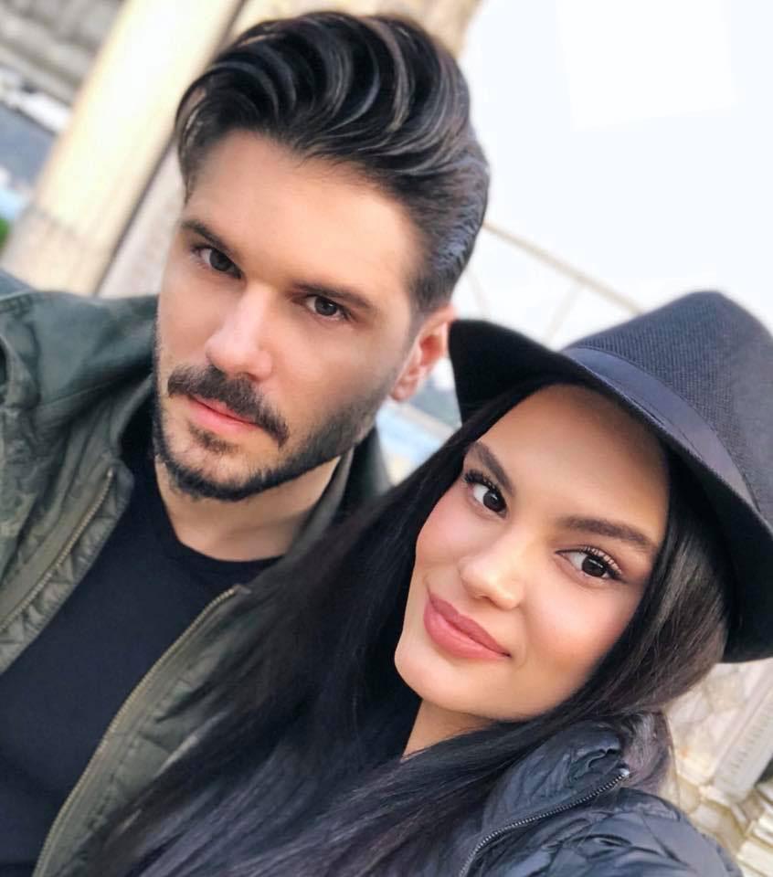 Tolgahan Sayisman with his wife Almeda Abazi